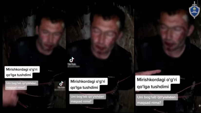 Фуқарони дарахтга боғлаб қўйиб видеога туширган ва TikTok'га жойлаган шахслар ушланди