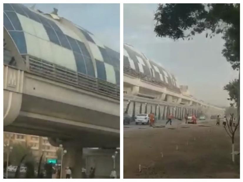 Янги метро бекати томидаги қопламалар шамолда учиб кетди (видео)
