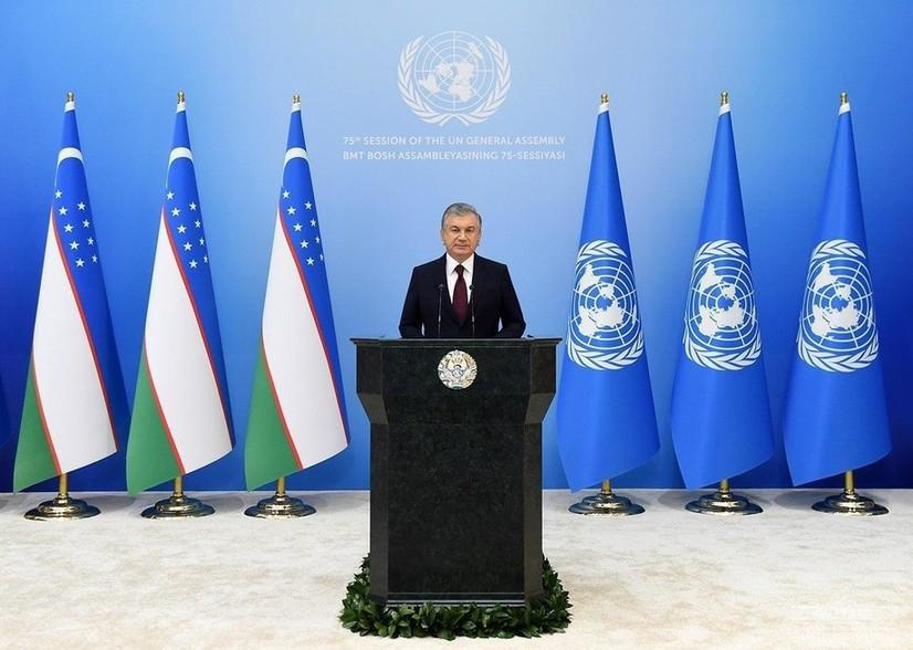Шавкат Мирзиёев БМТ Бош Ассамблеяси сессиясида нутқ сўзлайди