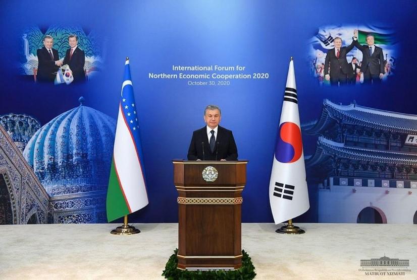 Президент Мирзиёев Шимолий иқтисодий ҳамкорлик форумида иштирок этди